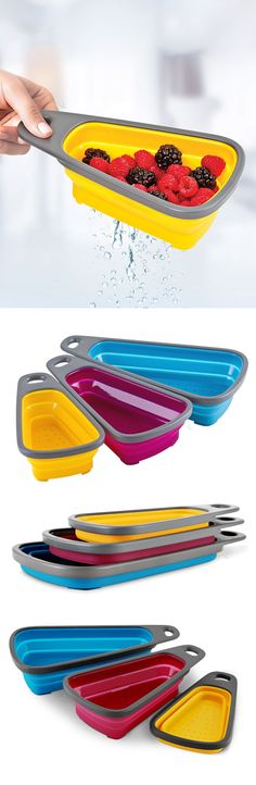 3 piece nesting colander set // packs flat for storage, so handy for berries, salads etc. #product_design #kitchen #gadget
