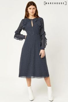 Buy Warehouse Navy Textured Spot Dress from the Next UK online shop Party Dresses For Women, Dresses For Work, Next Uk, Uk Online, Korean Fashion, Evening Dresses, Your Style, Polka Dots, Texture