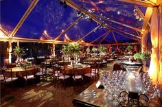 Clear span tent for a natural night sky ceiling.