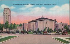 "Vintage Postcard: Shrine of the Little Flower, Royal Oak, Near Detroit, Michigan, 1942. $4.00, via Etsy.    Has a WWII cancellation reading ""buy defense savings bonds and stamps""!"