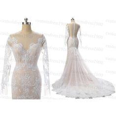 Long Sleeve Elegant Wedding Dress Handmade Lace Mermaid Wedding Gowns... ($289) ❤ liked on Polyvore featuring dresses and wedding dresses