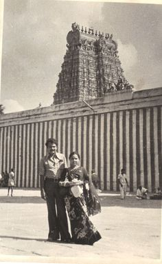 Me and My wife at Minaxi Temple In 1975.  Meenakshi Amman Temple ( Other names : Meenakshi Sundareswarar Temple or Tiru-aalavaai  or Meenakshi Amman Kovil) is a historic Hindu temple located in the southern bank of river Vaigai in the temple city[ of Madurai, Tamil Nadu, India. It is dedicated to Parvati who is known as Meenakshi and her consort, Shiva, named her as Sundareswarar. The temple forms the heart and lifeline of the 2500 year old city of Madurai..