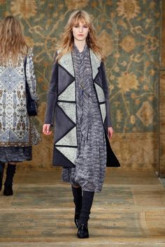 Long Moroccan print dress under a long 70's inspired coat for the Tory Burch Fall 2015 Collection