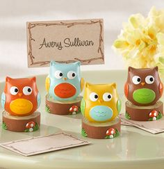 Owl baby shower place card holders