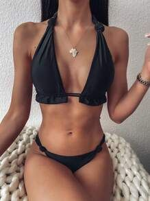 Knot Detail Halter Triangle Bikini Swimsuit Black Sexy   Nylon Plain   High Stretch  Bikini Sets size features are:Bust: Length:  Sleeve Length: Lace Bikini, Bikini Set, Bikini Swimsuit, Bra Types, Spandex Material, Black Pattern, Triangle Bikini, Swimsuits, Swimwear