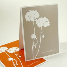 personalized stationery set note cards -poppies (8) CHOOSE color. $13.00, via Etsy.