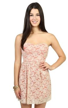 Deb Shops natural lace strapless dress with sweetheart bodice and open bow back $26.17