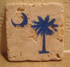 South Carolina State Flag Marble Coasters - Iconic Palm Tree & Crescent Moon