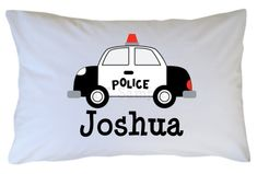 Police Car Pillow Case Black and White by CutiesTieDyeBoutique, $18.00