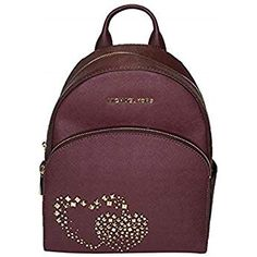 0c8ce4bf857d4 Michael Kors Abbey Studded Double Hearts Medium Leather Backpack in Merlot