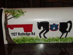 Standard mailbox hand painted Horse mailbox  Auburn mailbox Aubie mailbox Gifts for her Gifts for him Mailboxes painted Jack Jack's Wayart (85.00 USD) by JackJacksWayart