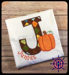 Boy's Pumpkin Initial Applique Shirt, Thanksgiving Applique Shirt, Fall Applique Shirt by FDLEmbroidery on Etsy