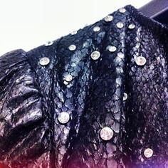 Salmonleather with swarovski crystals shoulderdetail - perfection #leatherjacket #salmonleather #swarovski #studs