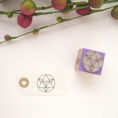 "MERKABA Rubber stamp Ideal for stamping on envelopes, cards, notebooks, gift tags, paper bags, boxes, fabrics, Scrapbooking, etc.  In modern esoteric teachings, the Merkaba is a ""Star Tetrahedron"" three-dimensional, consisting of two tetrahedrons or pyramids with equilateral triangular base. The pointing upward, it is masculine: tetrahedron sun; and pointing down, it is feminine: tetrahedron land. His nature is crystal clear and geometric."