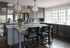 Charcoal Grey Kitchen. Charcoal kitchen Paint Color Ideas. Grey stained walnut kitchen. #CharcoalKitchen #CharcoalGreyKitchen  Kitchen Studio Kansas City.