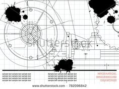 Vector drawing. Mechanical drawings on a white background. Engineering. Draft. Black Ink. Blots #bubushonok #art #bubushonokart #design #vector #shutterstock #technical #engineering #drawing #blueprint  #technology #mechanism #draw #industry #construction #cad