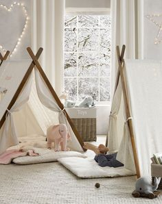 printed canvas a-frame tents. a favorite hideaway for the toddler set…