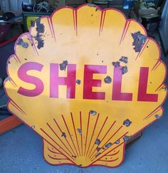 Vintage Porcelain SHELL Double Sided Sign  #SHELL