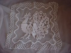 Antique Vintage Antimacassar Lace Doily Peacock Bird 15 by 16 inch Cotton Seller florasgarden on ebay