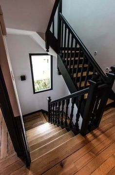 home remodeling / home remodeling . home remodeling on a budget . home remodeling ideas . home remodeling diy . home remodeling before and after . home remodeling on a budget fixer upper . home remodeling kitchen . home remodeling ideas on a budget Black Stair Railing, Black Stairs, Open Stairs, Wood Staircase, Staircase Design, Staircase Ideas, Craftsman Staircase, Painted Staircases, Metal Stairs