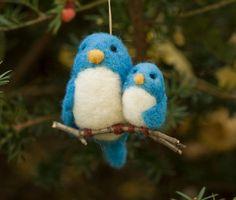 felted handmade bird ornament