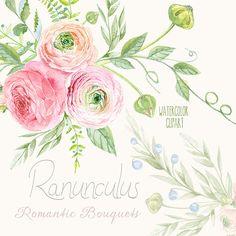 Ranunculus Bouquets Flowers Hand Drawn Clip Art por ReachDreams