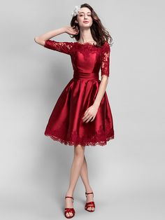 Cocktail Party Dress - Burgundy Plus Sizes / Petite Ball Gown Bateau Knee-length Satin - USD $84.99