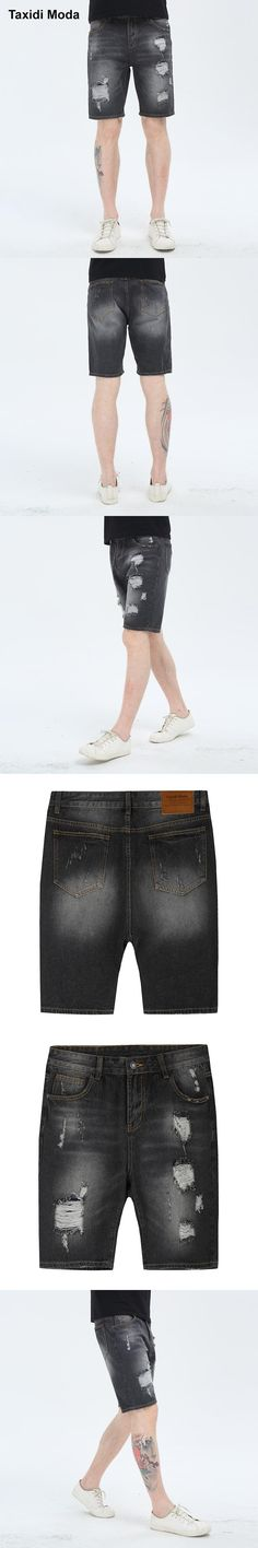 Taxidi Moda 2017 Summer Mens Fashion Denim Shorts Hole Black Gray Brand Clothing For Man's Slim Fit Jeans Male Wear Trousers 075