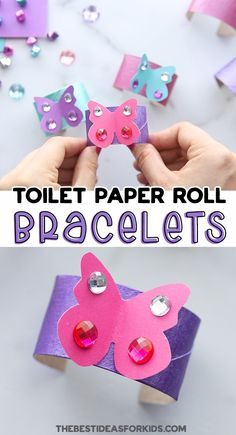Toilet Paper Roll Butterfly Bracelets - such a fun kids craft! An easy kids activity using toilet paper rolls and paper. Perfect for preschool or kindergarten! Toilet Paper Roll Crafts, Paper Crafts For Kids, Easy Crafts For Kids, Toddler Crafts, Easy Arts And Crafts, Fun Diy Crafts, Craft Activities For Kids, Preschool Crafts, Free Activities