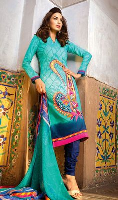 Cyan Blue and Royal Blue Cotton Churidar Suit Price: Usa Dollar $94, British UK Pound £55, Euro70, Canada CA$102 , Indian Rs5076.