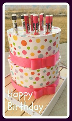 This is a really easy birthday project. I took some unfinished stackable boxes and covered them in wrapping paper. I put the boxes upside down on top of each other and then covered the lid in 1 1/2...
