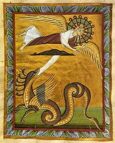 """""""The Crowned Virgin: A Vision of John"""" (Revelation 12:1-3), from the Bamberg Apocalypse, an 11th century richly illuminated manuscript.Spiritual Reflections: Apocalyptic Advent"""