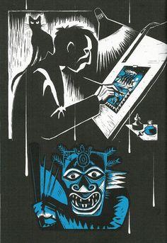 Flood van Eric Drooker, gemaakt met scratchboard, geïnstpireerd door Frans Masereel