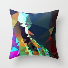 Geometric Pillow Cover, Abstract Art Pillow Cover, Brown, Blue, Tan and Green…