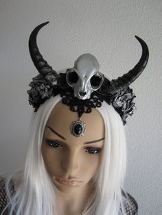 Gothic Medieval Witch Horned Headdress Headband Headpiece Fascinator Skull Horns Antler Roses Lace Black Silver