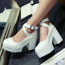 Blanco / negro / blanco 2015 marca moda mujeres de plataforma de tacón alto bombea serrado tobillo correa zapatos de plataforma para mujeres(China (Mainland))