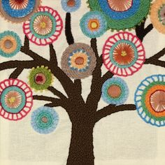 The Tree Crewel Embroidery Kit is a creative hand embroidery kit from Dimensions.  Kit includes printed cotton fabric, presorted wool yarn, needle and easy instructions.  Everything you need to make a modern crewel embroidery design to frame for display or applique to a pillow.  Finished size is 9-1/2
