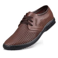 2014 sporing cowhide breathable genuine leather shoes casual shoes Pierced outdoor sports flat shoes men sneakers $66.00