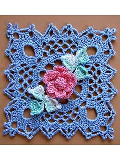 Lace crochet square with flower