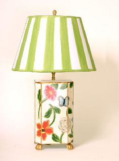 White Flower Lamp with Green Striped Shade