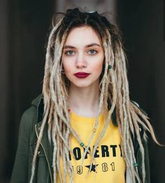 Image could contain: 1 person, close-up and text Dreadlock Styles, Dreads Styles, Hair Styles, New Dreads, Blonde Dreadlocks, White Girl Dreads, Dreads Girl, Dreadlock Hairstyles, Fancy Hairstyles