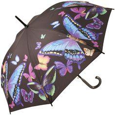 Galleria Art Print Walking Length Umbrella - Moonlight Butterflies - Brolliesgalore