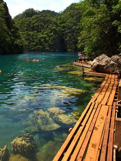 Wooden path at Kayangan Lake, Coron Island, Philippines