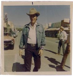 RARE: Elvis (Joe Lightcloud) is pictured on the set of the Western-comedy film STAY AWAY, JOE in downtown Cottonwood, AZ. Filming began on the 140 acre Bradshaw Ranch in Sedona, AZ and in Cottonwood, Arizona on October 9, 1967. Location filming continued until November 22, 1967 when the production company moved back to the studio to finish the production. The movie was released in the US on March 8, 1968. (Thnx to Dayne Bremen for sharing this great shot with the ELVIS PICTURES group on fb.)