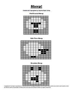 """Sheep! Intarsia Charts Full Frontal Sheep"""" , """"Side View Sheep"""", and """"Drunken Sheep""""."""