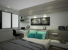 ห้องนอนที่ดูจะคล้ายกับห้องที่ผ่านมาแต่ดูกว้างกว่าเยอะเลย นอกจากนี้ยังมีมุมสำหรับทำงานริมหน้าต่างและอีกฝั่งยังสามารถวางโต๊ะข้างเตียงได้อีกด้วย
