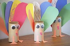 Corlorful Paper Turkey Toilet Paper Rolls - 2015 Thanksgiving Decor Crafts