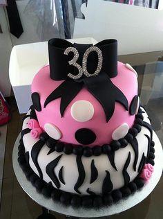 30th Birthday cake with zebra print, poka dots and bow   Flickr