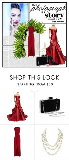 """""""Red"""" by asy-fashion ❤ liked on Polyvore featuring Monique Lhuillier, HotSquash, Chanel, Casadei, dress and fashionset"""