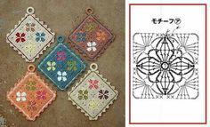 Uncinetto Crochet Potholders, Crochet Blocks, Crochet Squares, Crochet Motif, Crochet Shawl, Crochet Doilies, Crochet Flowers, Crochet Patterns, Crochet Kitchen